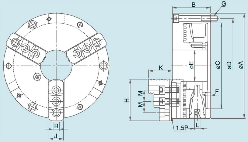 NT - 3-Jaw Steel Body Chuck Specification