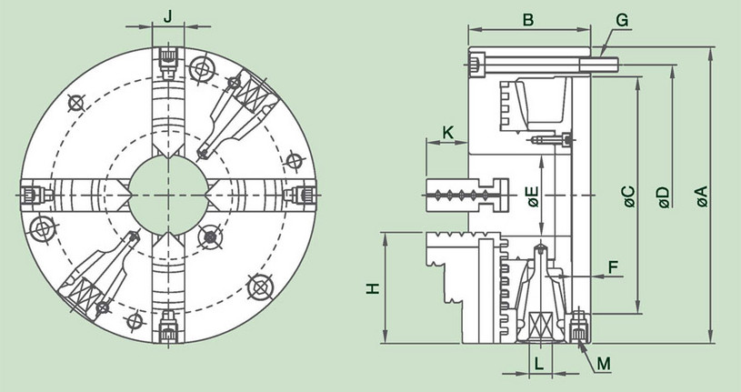 4DACT - 4-Jaw Adjustment Steel Body Scroll Chuck Specification