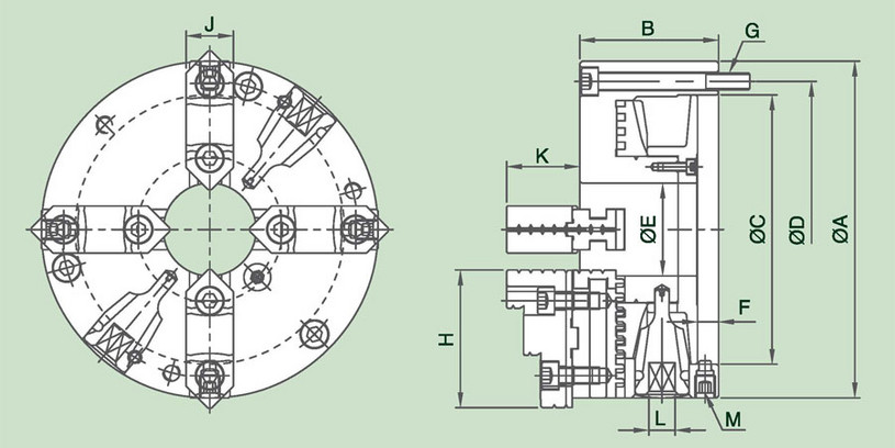4DAKT - 4-Jaw Steel Body Power Chuck Specification