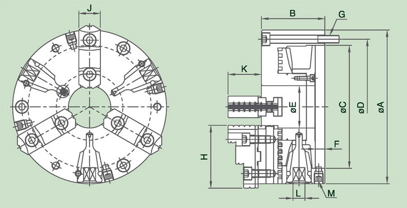3DAKT - 3-Jaw Steel Body Power Chuck Specification