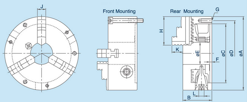 SC - 3-Jaw Scroll Chuck Specifications