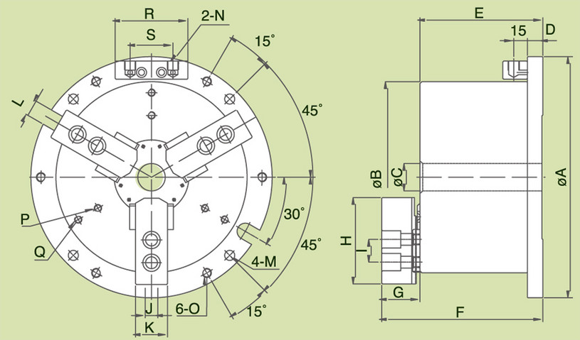 MO - 3-Jaw Hollow Power Chuck Fixtures Specification