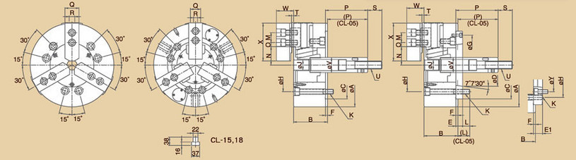 CL - 3-Jaw Solid Power Chucks Specifications