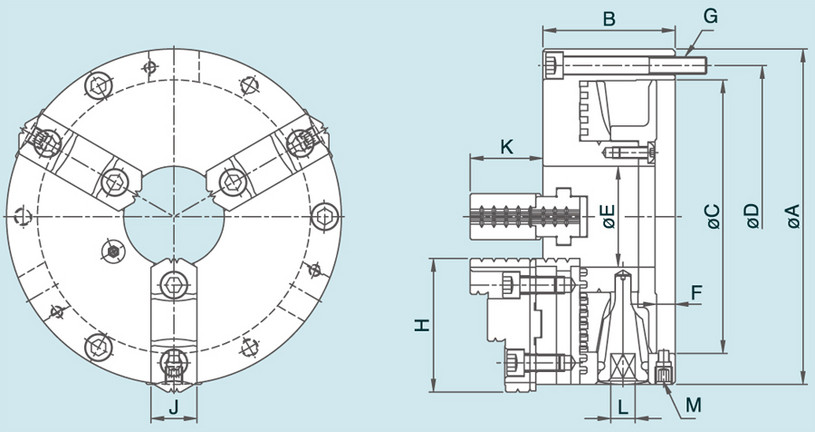 KT - 3-Jaw Powerful Type Adjustment Steel Body Chuck Specification