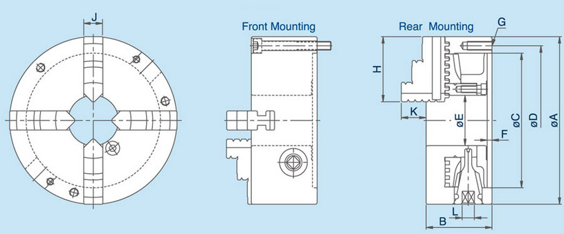 PS - 4-Jaw Scroll Chuck Specification