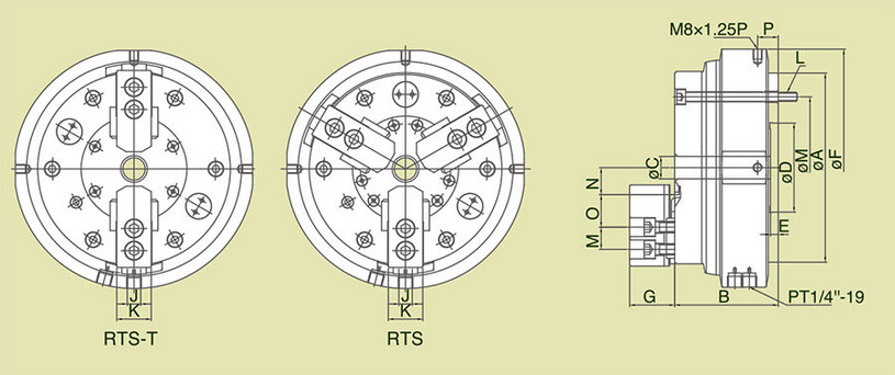 RTS-T - 2-Jaw Rotary Air Chuck Fixture